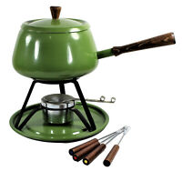 Mid Century Avocado Green Fondue Pot Made In Japan MCM 60s 70s With Skewers
