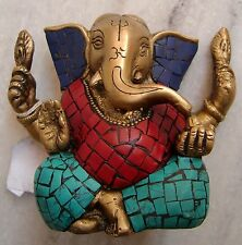 ANTIQUE HAND CRAFTED BRASS LORD GANESHA STATUE DESIGN WITH CORAL,TURQUOISE,LAPIS