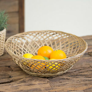 37cm Woven Coconut Fruit Bowl Bread Basket Storage Dish Coffee Table Home Decor