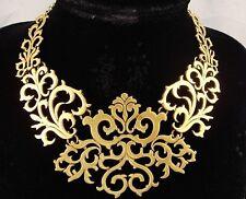 necklace polish gold bronze metal swirl bib antique vintage victorian style FIOJ