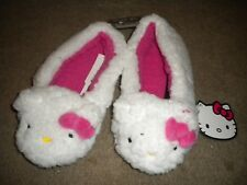 Hello Kitty white fleecy slippers with Hello Kitty face; pink inside NWT M 7/8