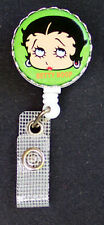 BETTY BOOP RETRACTABLE ID Badge Holder ID Card Key Reel Chain Ring  eyes green