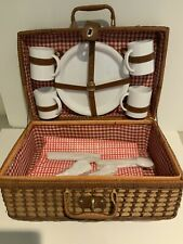 Wicker Picinic Basket Large With Ware Kit Red White Interior Vintage
