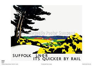 SUFFOLK TOM PURVIS HOLIDAY RETRO VINTAGE RAIL TRAVEL POSTER ADVERTISING ART