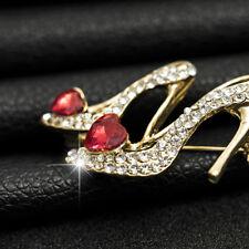 Women Crystal Rhinestones High Heel Shoes Brooch Pins Dress Jewelry Gift YI