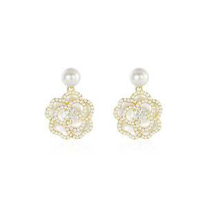 Camelia Flower Floral Black White Pearl Crystal Enamel Designer Stud Earrings