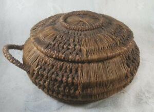 Antique Victorian 1860s Hand Woven Wicker Sewing Basket Silk Liner Primitive