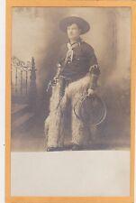 Studio Real Photo Postcard RPPC - Cowboy with Chaps Lasso and Gun