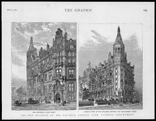 1887 Antique Print - LONDON Victoria Embankment National Liberal Club  (110)