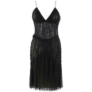 """ALEXANDER McQUEEN S/S 2003 """"Irere"""" Black Gathered Layer Tulle Mesh V Neck Dress"""
