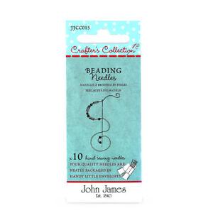 Paquet de 10 aiguilles à perler John James - Taille 10, 11, 12