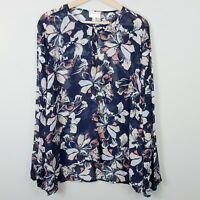 [ WITCHERY ] Womens Sheer Floral Blouse Top | Size AU 16 or US 12
