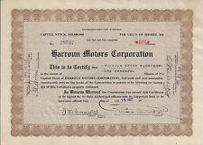 MICHIGAN 1921 Harroun Motor Corporation Stock Certificate