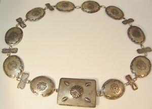 Vintage Southwestern Sterling Silver Hammered & Stamped Concho Linked Belt