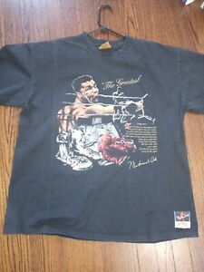 VINTAGE!!!!Muhammad Ali Nutmeg Mills Sports Boxing Mens XL shirt-Single stitch