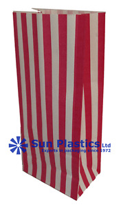 """Pink Striped Pick'n'Mix Bags 4 x 7 x 9"""" 70gsm White Kraft Sweetie / Gift bags"""