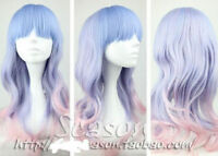 blue /light purple /pink mixed long curly cosplay Wig