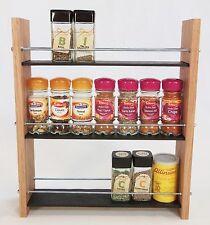 Oak Slate Design Spice / Herb Rack 3 Tier, 21 Jar - Modern Contemporary Style