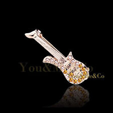 18k Rose Gold Ep Brilliant & Marquise Cut Topaz Crystal Guitar Brooch Pin