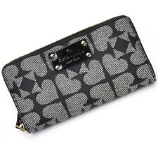 New with Tag Kate Spade Pebbled Ace of Spades Zip Wallet in Black/Cream #1190