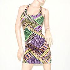 ABITO donna giromanica vestito ragazza cotone lino elasticizzato colorato 65