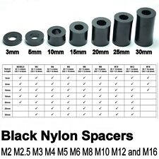 12 x Black Nylon Plastic SPACERS Standoff Washer M2 M3 M4 M5 M6 M8 M10 M12 M16