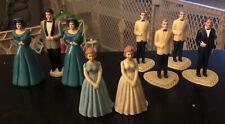Vintage lot of 9 bride & groom Bridesmaids Groomsman cake toppers-plastic Molded