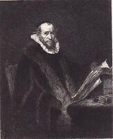 Portrait Juste Lipse Eau Forte Rembrandt Joost Lips Humanisme Renaissance