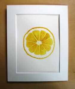 ORIGINAL ART - Lemon slice fruit watercolour with mat board