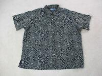 VINTAGE Ralph Lauren Polo Shirt Adult 2XL XXL Black Gray All Over Print Mens