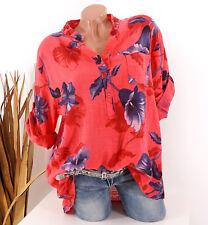 Bluse Damen Tunika 42 44 46 koralle Longbluse Fischerhemd Leinen Optik Blumen