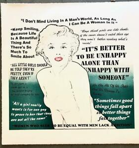 Marilyn Monroe Quotes Hand Signed Fine Art Lithograph