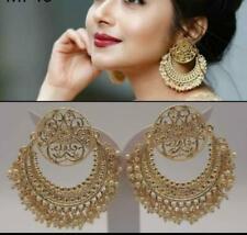 Indian Bollywood Ethnic Pearl Jhumka Jhumki Chandbali Earrings Wedding Jewelry