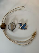 Bolo Neck Tie Southwest Style Flying Eagle Blue Turquoise Chips Tigers Eye Lot
