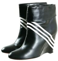 Yohji Yamamoto Y-3 Women's Wedge Boots Size EU 39 US 7.5 Leather Black White