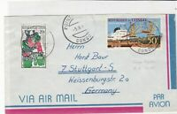 republique du congo 1965 boat + women working air mail stamps cover ref 21263