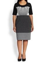 Marina Rinaldi Abito Maglia Knit Dress L 175/ 116Y Black White Geometric Pattern