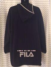 FILA Mens XL Hoodie Pullover Sweatshirt Fleece Vintage Big Tall Black Grey C1