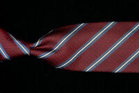 HICKEY FREEMAN Tie, Lake Blue White Repp Stripes on Burgundy Silk USA