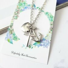 Unisex silver faith hope & love heart cross anchor charm chain pendant necklace