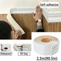 Home 3D Self-adhesive Decor Wall Molding Skirting Line Mural Border Sticker US
