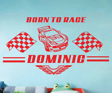Personalized Custom Name Race Car Boys Kid Wall Stickers Decals Vinyl Home Decor