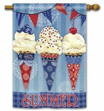 """New listing Patriotic Ice Cones Summer Red White & Blue 28"""" x 40"""" Outdoor House Flag"""