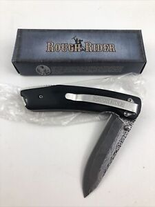 Rough Rider Damascus Etched Black Wood Pocket Folding Knife New RR1010