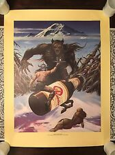 "NOS Vintage Rainier Beer Poster ""Barbeerian Conquers Sasquatch"" - Seattle, WA"