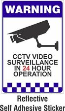 Warning CCTV Security Surveillance Camera REFLECTIVE Sticker Sign 66x100mm