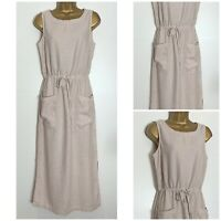 Next Neutral Linen Blend Sleeveless Midi Dress Sizes 8 - 26 Reg & Tall (n-82h)