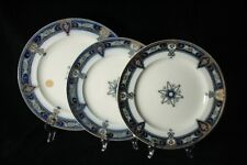 Wedgwood Pearl set of three antique plates, gilded transferware (circa 1840)