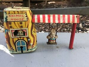"Vintage Tin ""Animal House"" TPS Japan toy - still works"