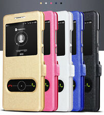 Luxury Slim Window View Magnetic Flip Wallet Leather Case Skin Cover For Samsung
